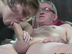 Euro hooker sucks oldmans phallus before riding