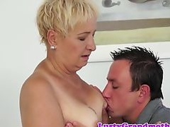 Saggytits grandma banged after giving bj